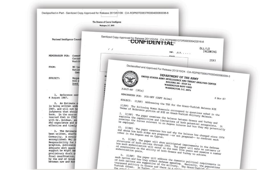 Αποτέλεσμα εικόνας για Οι απόρρητες εκθέσεις της CIA για Αιγαίο, Κύπρο