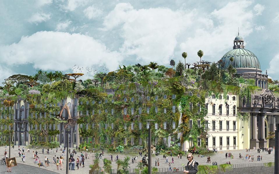 Η πράσινη πρόταση «Humboldt Jungle» της Ελισάβετ Σικιαρίδη για το υπό ανέγερση Humboldt Forum στο Βερολίνο, που αναβιώνει εξωτερικά το ανάκτορο του Κάιζερ.