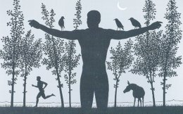 Tην πρόσκληση εικονογραφεί πίνακας του Δημήτρη Γέρου, από την έκθεση· ένας άγνωστος, ίσως, άθλος του Aνθρώπου με τα φτερά. Πουλιά της νύχτας μοχθηρά έχουν πάρει τη θέση τους. Στο φως της ημισελήνου ο ουρανός είναι γκρίζος, η φύση έχει το μαύρο χρώμα της νύχτας.