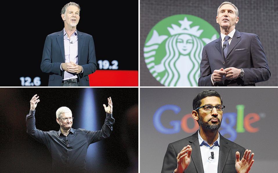 Οι επικεφαλής μεγάλων αμερικανικών εταιρειών, όπως οι Ρ. Χάστινγκς της Netflix (πάνω αριστερά),  Χ. Σουλτς της Starbucks (πάνω δεξιά), Τ. Κουκ της Apple (κάτω αριστερά) και Σ. Πισάι της Google (κάτω δεξιά) έδειξαν ότι είναι διατεθειμένοι να αντιπαρατεθούν στις απαράδεκτες πρακτικές που θέλει να εφαρμόσει απέναντι στους μετανάστες ο νέος Αμερικανός πρόεδρος.