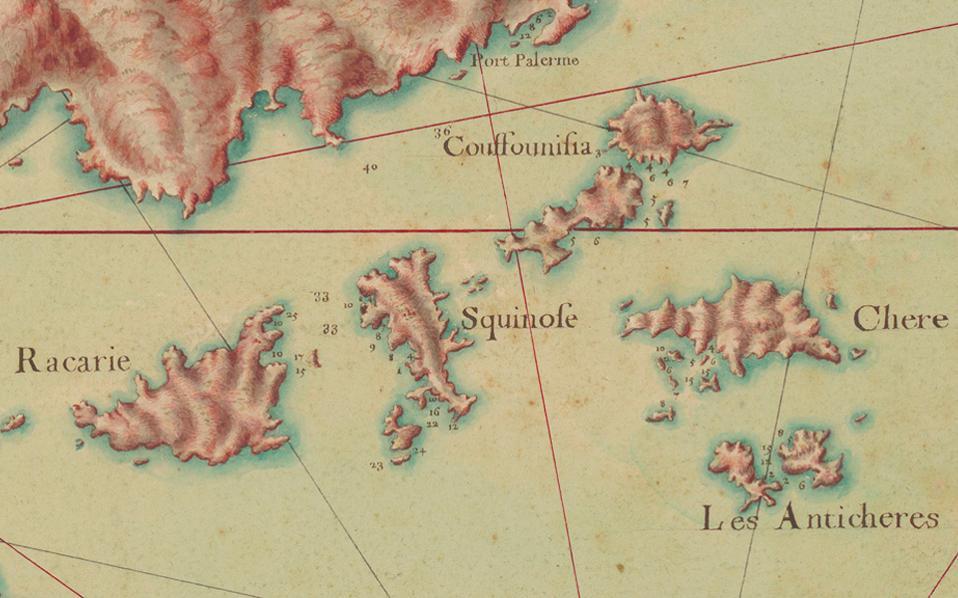 Οι Μικρές Κυκλάδες όπως αποτυπώνονται σε χειρόγραφους χρωματιστούς χάρτες μεγάλων διαστάσεων (60x100 εκατ.) από τους έμπειρους χαρτογράφους, τους «μηχανικούς του Βασιλέως», όπως ήταν ο τίτλος τους.