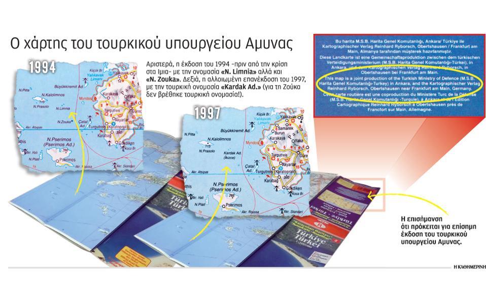 Αποτέλεσμα εικόνας για Ίμια: Το παρασκήνιο του 1996 και ο χάρτης-ντοκουμέντο