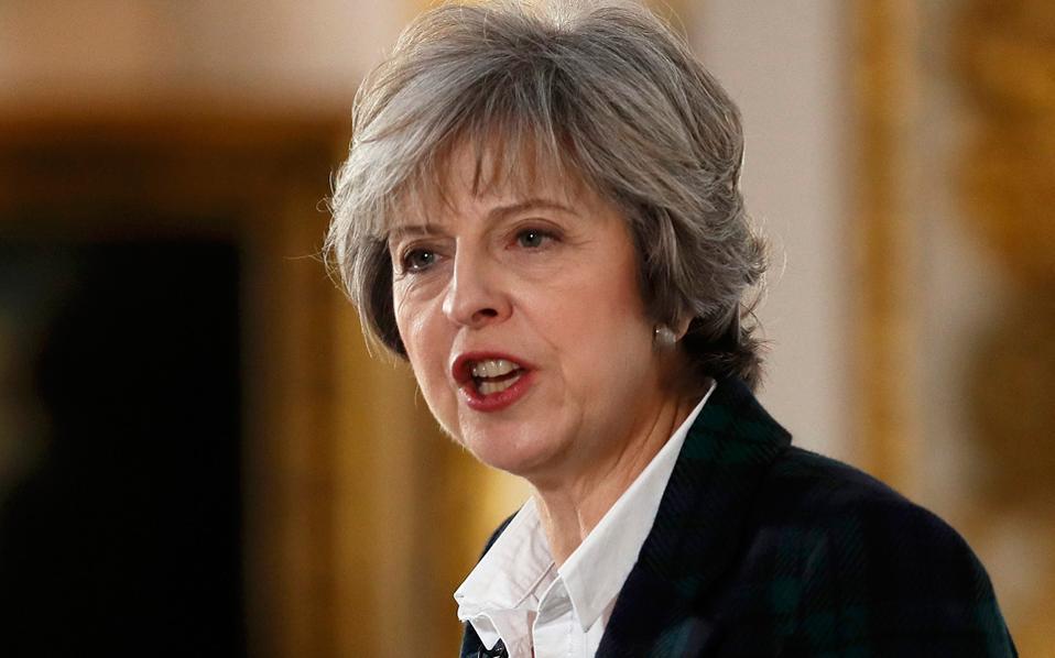 «Η Βρετανία θα αποχωρήσει από την Ενωση. Δεν πρόκειται να έχουμε ένα πόδι μέσα και ένα έξω από την Ε.Ε.», είπε η πρωθυπουργός Τερέζα Μέι προς τους πρέσβεις των ευρωπαϊκών κρατών που παρακολουθούσαν την ομιλία της.