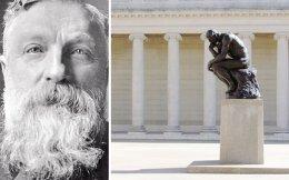 Ο Ογκίστ Ροντέν (αριστερά) πέθανε σε ηλικία 77 ετών, στις 17 Νοεμβρίου του 1917. Δεξιά, «Σκεπτόμενος». Αντίγραφο του διασημότερου έργου του Ροντέν στο αίθριο του Μουσείου «Legion of Honor» του Σαν Φρανσίσκο.