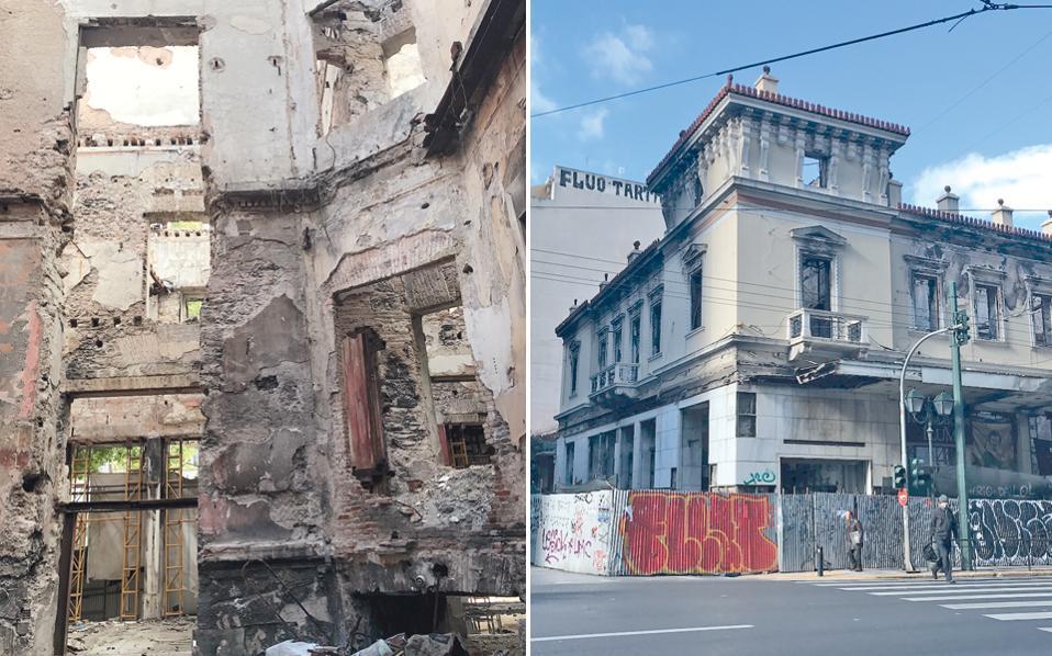 Το νεοκλασικό κτίριο, γωνία Σταδίου και Χρήστου Λαδά, στην κατάσταση στην οποία έχει περιπέσει. Αριστερά, η εικόνα του χαμένου εσωτερικά κτιρίου με άνοιγμα στο βάθος προς την οδό Σταδίου.