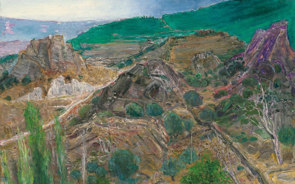 Η θέα του βουνού απέναντι από το σπίτι του Χρόνη Μπότσογλου στο Πετρί της Μυτιλήνης.