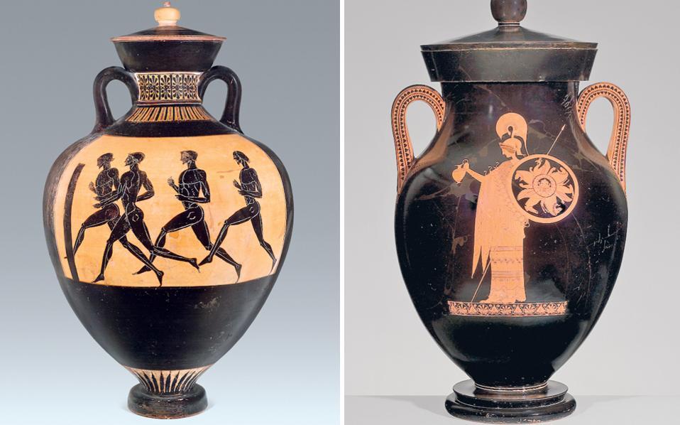 Αριστερά, παναθηναϊκός αμφορέας του «ζωγράφου του Βερολίνου». Δεξιά, παναθηναϊκός αμφορέας με τη μορφή της Αθηνάς, της κλασικής περιόδου.