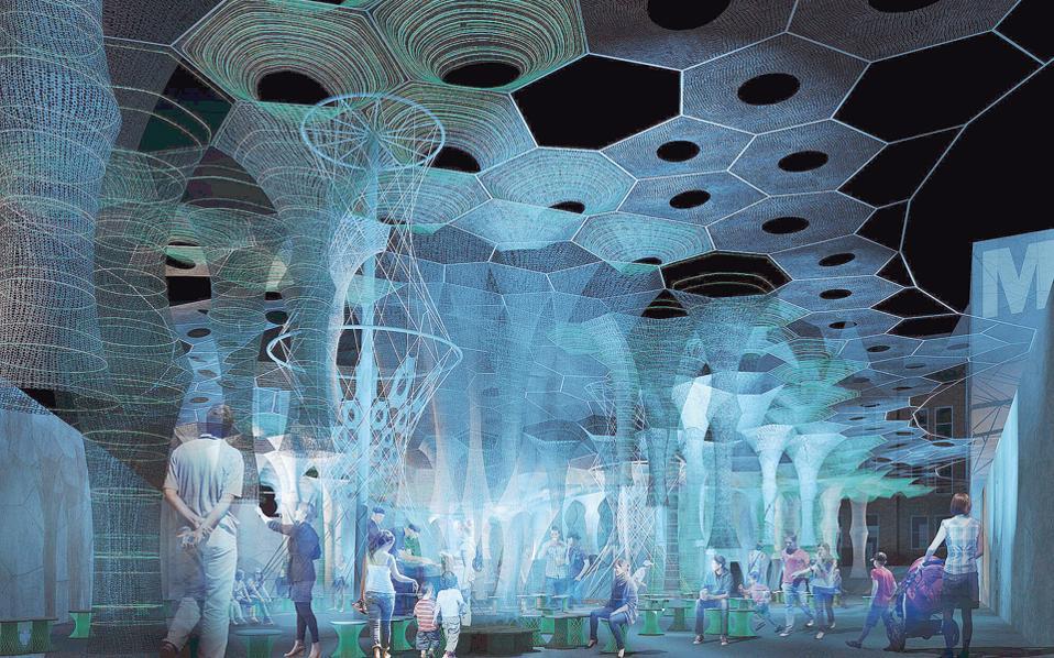 Η εγκατάσταση «Lumen» προσαρμόζεται στις περιβαλλοντικές συνθήκες και αλληλεπιδρά με τους επισκέπτες.