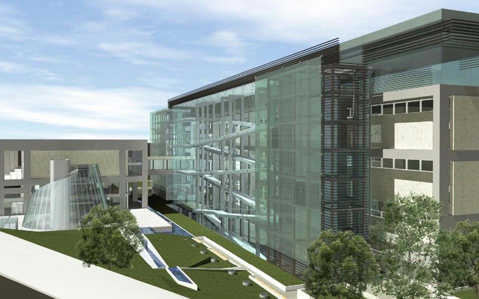 Τμήμα της μακέτας που δείχνει πώς θα είναι η εξωτερική όψη της Εθνικής Πινακοθήκης μετά την ανακαίνιση όλου του συγκροτήματος.