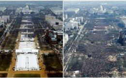 Αριστερά, το πλήθος κατά την ορκωμοσία Τραμπ το 2017. Δεξιά, το πλήθος κατά την ορκωμοσία Ομπάμα το 2009.