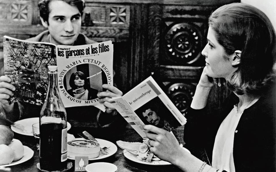 Στιγμιότυπο από την ταινία «Αρσενικό-Θηλυκό», με τον Ζαν-Πιερ Λεό και την Κατρίν Ιζαμπέλ Ντιπό.