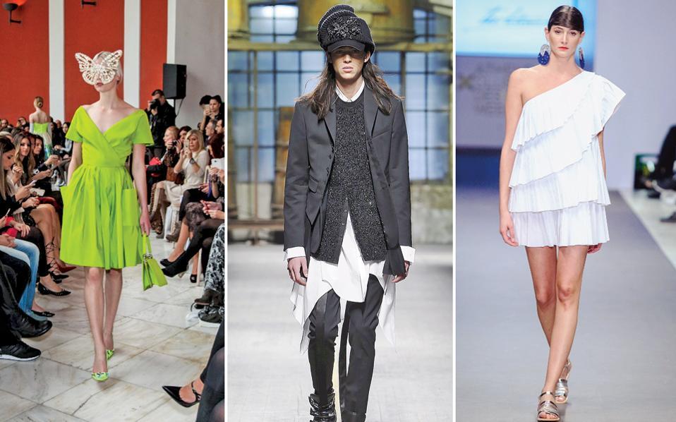 Αριστερά: Στιγμιότυπο από το demi-couture ντεφιλέ του Βασίλη Ζούλια στο περιστύλιο του Ζαππείου τον περασμένο Νοέμβριο. Στο κέντρο: Λουκ από την κολεξιόν Dsquared2 για τον Χειμώνα 2017-18 που θα παρουσιαστεί σε ειδική διασκευή στην Αθήνα. Δεξιά: Καλοκαιρινό φόρεμα από το ελληνικό brand The Artians που παρουσιάστηκε στην προηγούμενη έκδοση της AXDW.
