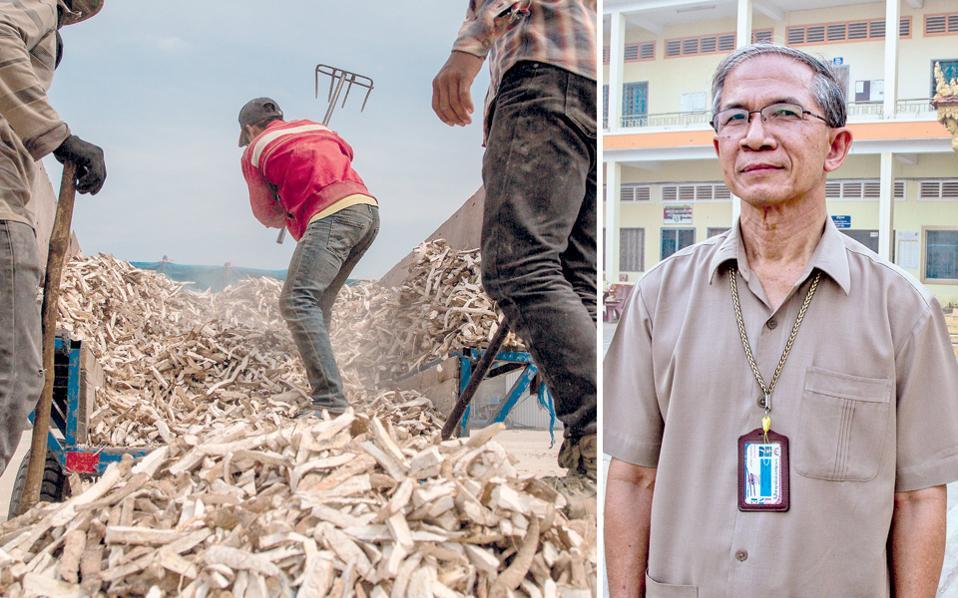 Αριστερά, Καμποτζιανοί εργάτες ξεφορτώνουν κασάβα σε εργοστάσιο του Μαλάι. Η περιοχή, κάποτε «σπαρμένη» νάρκες, έχει μετατραπεί σήμερα σε σιτοβολώνα της χώρας. Δεξιά, ο Τεπ Κουνάι μπροστά από το Πανεπιστήμιο Διοίκησης Επιχειρήσεων και Οικονομικών, όπου διδάσκει.