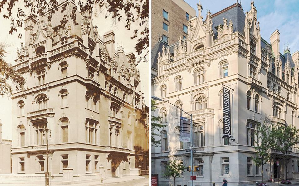 H έπαυλη του Felix Warburg το 1926 (αριστερά). Από το 1947 το κτίριο στεγάζει το Εβραϊκό Μουσείο (δεξιά).