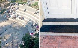Στο αμφιθέατρο της πλατείας Κουμουνδούρου χρήστες έχουν κάνει «κατάληψη». Δεξιά, μαρμάρινα σκαλοπάτια καλυμμένα με μοκέτες ώστε να μη χρησιμοποιούνται για χρήση ναρκωτικών.