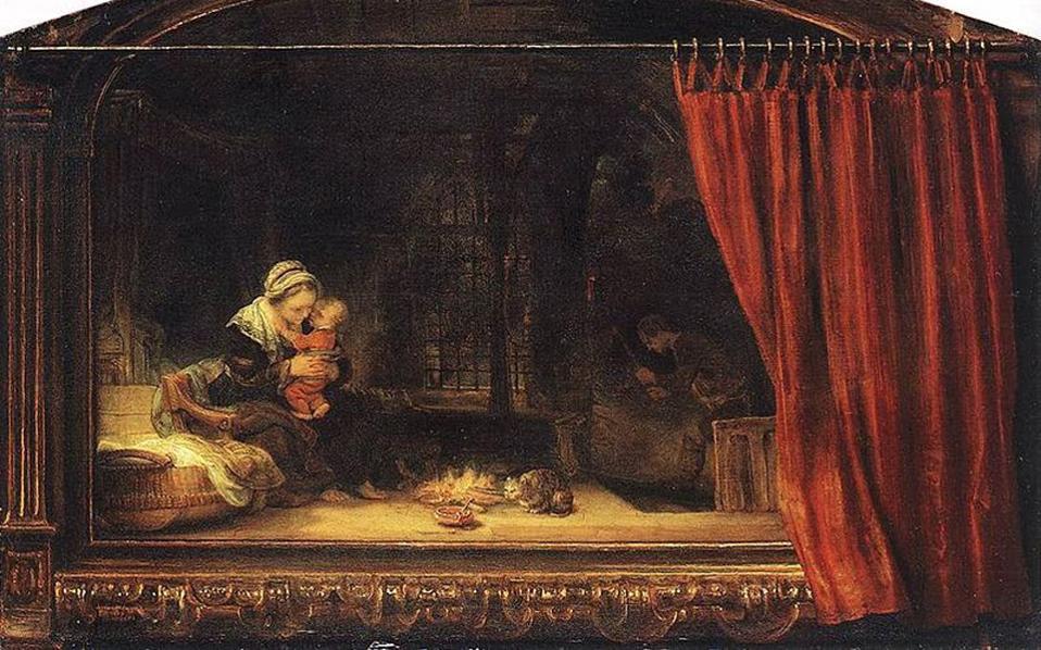 «Αγία Οικογένεια με κουρτίνα» (λεπτ.) του Ρέμπραντ, έργο του 1646.