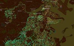 Χάρτης της Βοστώνης. Οι πράσινες κουκκίδες αντιστοιχούν σε εκτάσεις με δέντρα.