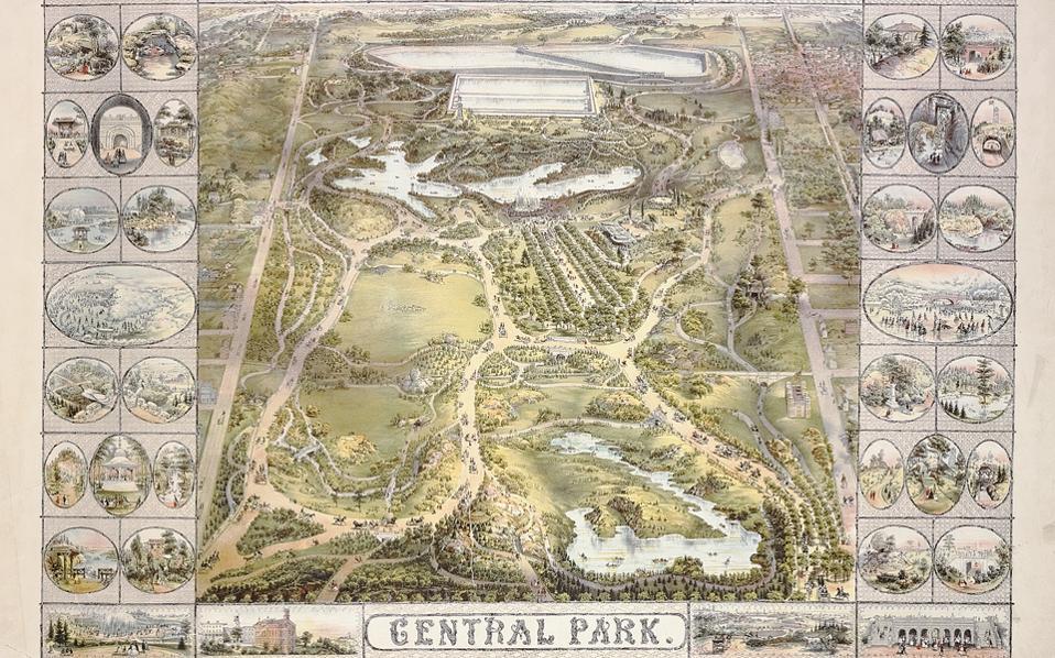 Χάρτης του Σέντραλ Παρκ, χρονολογούμενος στο 1863, από τη συλλογή της New York Public Library.