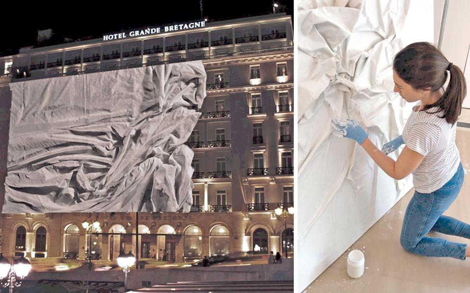 Το εικαστικό δρώμενο της Μαρίας Φραγκουδάκη (δεξιά πάνω) στο ξενοδοχείο «Μεγάλη Βρεταννία» την περασμένη Πέμπτη. Χρησιμοποιώντας την περφόρμανς, τη ζωγραφική, τις μεικτές τεχνικές και την πρωτοπόρο τεχνολογία 3D Mapping, η Φραγκουδάκη μας μύησε σε μια εικαστική εμπειρία τριών διαστάσεων.