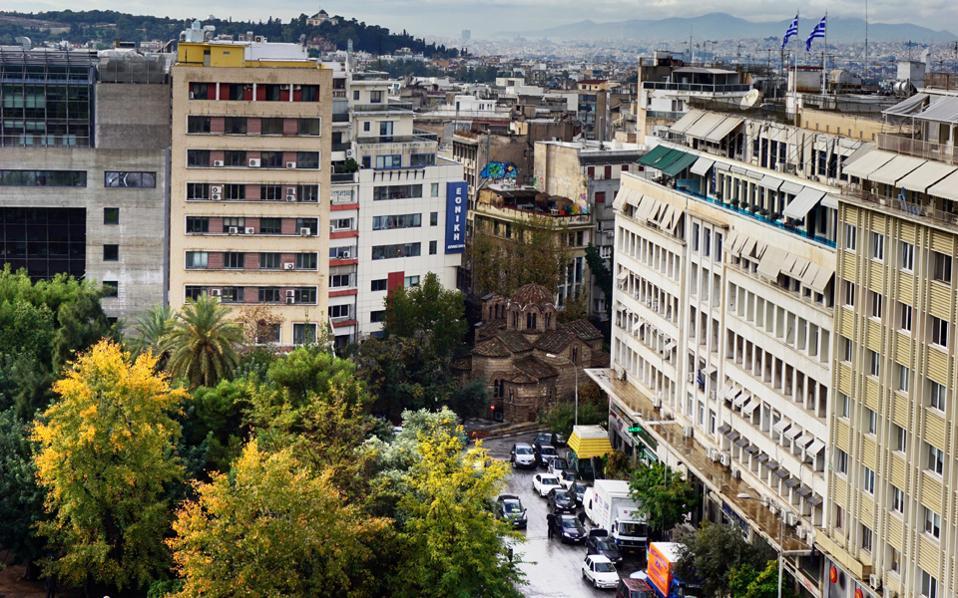 Η οδός Δραγατσανίου από το κτίριο της Alpha Bank, Σταδίου και Κοραή.