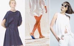 Από αριστερά: Φόρεμα του Αγγελου Μπράτη. Το μπλε στα χειροποίητα σανδάλια του brand Kyma συμβολίζει τη θάλασσα. Μινιμαλισμός από το Line Project.