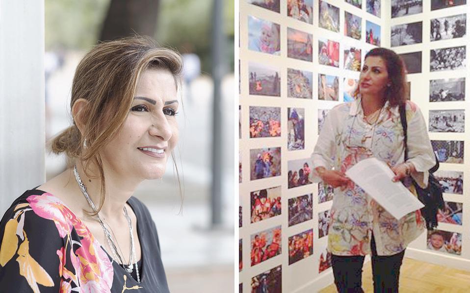 Η Μπούσρα Αλραμάχι, η Ιρακινή αναισθησιολόγος, φωτογραφημένη για την «Κ» στην Αθήνα, όπου βρέθηκε στο Μουσείο Κυκλαδικής Τέχνης ως «ξεναγός» της έκθεσης φωτογραφίας της οργάνωσης Solidarity Now (δεξιά), το περασμένο φθινόπωρο.