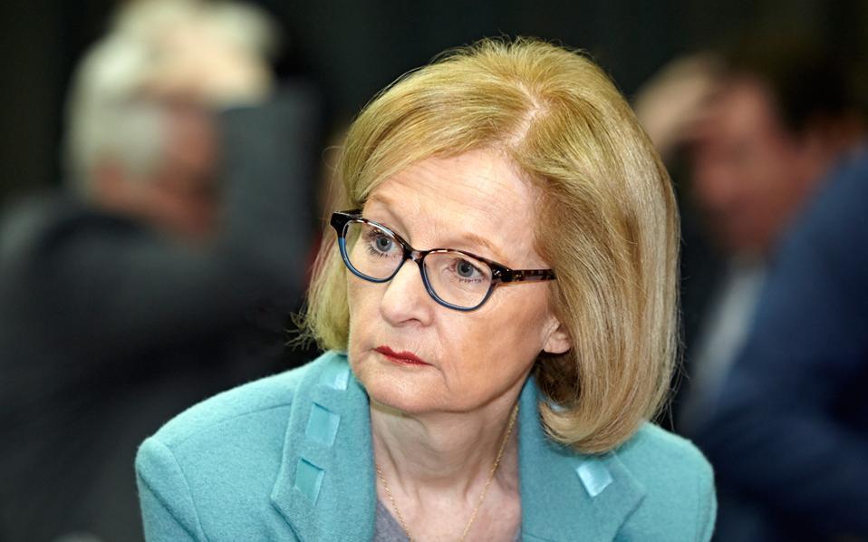 Η κ. Ντανιέλ Νουί, επικεφαλής του μηχανισμού τραπεζικής εποπτείας της Ευρωπαϊκής Κεντρικής Τράπεζας.