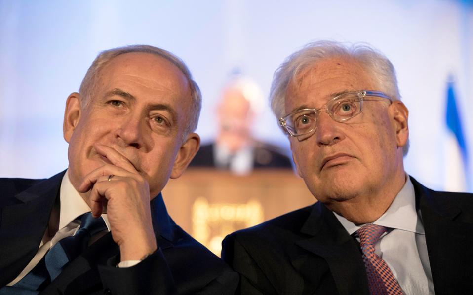 Ο Ισραηλινός πρωθυπουργός Νετανιάχου και ο πρέσβης των ΗΠΑ Φρίντμαν, σε εκδήλωση την Κυριακή στην Ιερουσαλήμ.