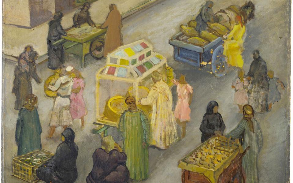 «Στο Κοπτικό Παζάρι», έργο του Μίκη Ματσάκη από την έκθεση του ΜΙΕΤ.