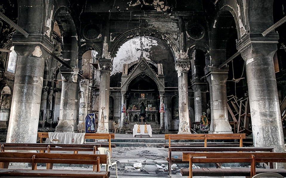 Ετσι είναι σήμερα η μεγαλύτερη χριστιανική εκκλησία του Ιράκ, ο ναός του Ευαγγελισμού της Θεοτόκου. Φωτογραφίες: Λευτέρης Παρτσαλής