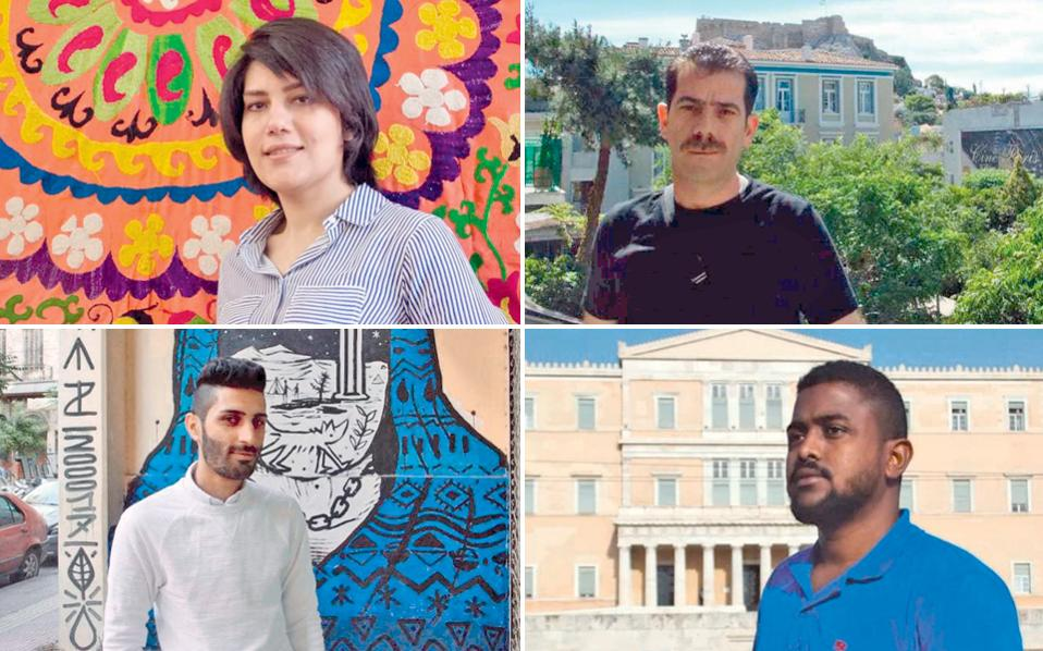 (Πάνω) Η Mαμπουμπέκ από το Ιράν θα μαγειρέψει στο «Yi», ο Aμπντούλ από τη Συρία στο «7 Food Sins». (Κάτω) Στo εστιατόριο «Σεϋχέλλες» θα βρεθεί ο Κούρδος Μπρασάνκ και στο «Βασίλαινα» ο Χασάν από τη Σομαλία.