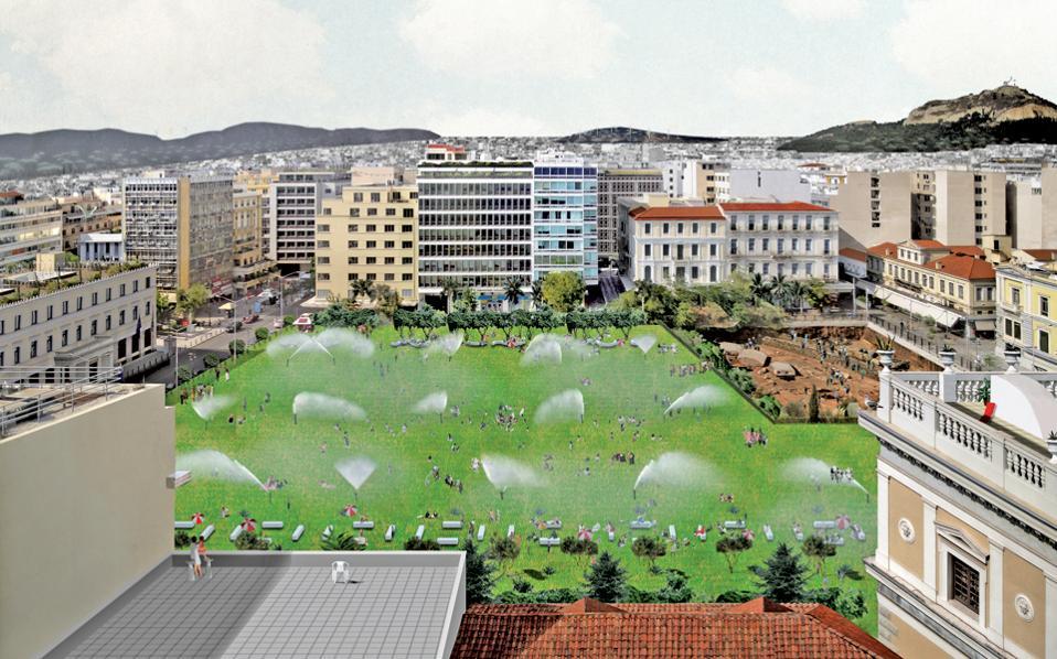 Η πρόταση της αρχιτεκτονικής ομάδας Point Supreme για την πλατεία Κοτζιά από την έκθεση «Tomorrows» της Στέγης Γραμμάτων στη Διπλάρειο Σχολή.