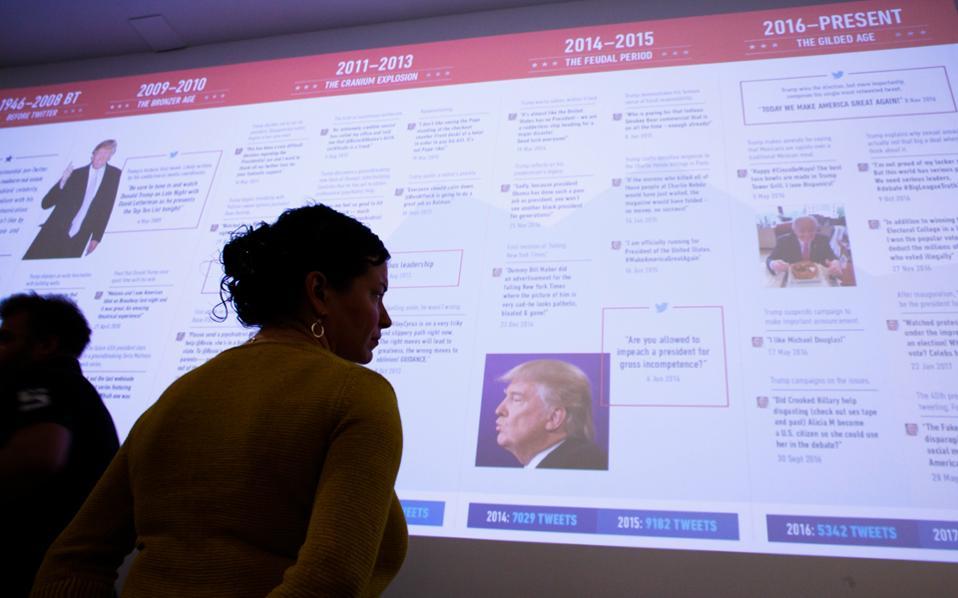 H ιερή αγανάκτηση που εκφράζει ο Ντόναλντ Τραμπ στο Twitter βοηθάει στη διάδοση των μηνυμάτων του.