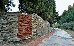 Μάρθα Δημητροπούλου, «Θα ρουφήξω, θα φυσήξω και το σπίτι σας θα ρίξω», 2014, πευκοβελόνες, κόλλα, 3 x 2 m.