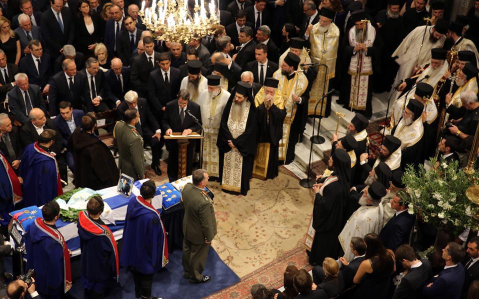 Ο πρόεδρος της Κύπρου Νίκος Αναστασιάδης εκφωνεί τον επικήδειο λόγο στην εξόδιο ακολουθία του πρώην πρωθυπουργού Κωνσταντίνου Μητσοτάκη, την περασμένη Τετάρτη στην Ιερά Μητρόπολη Αθηνών.