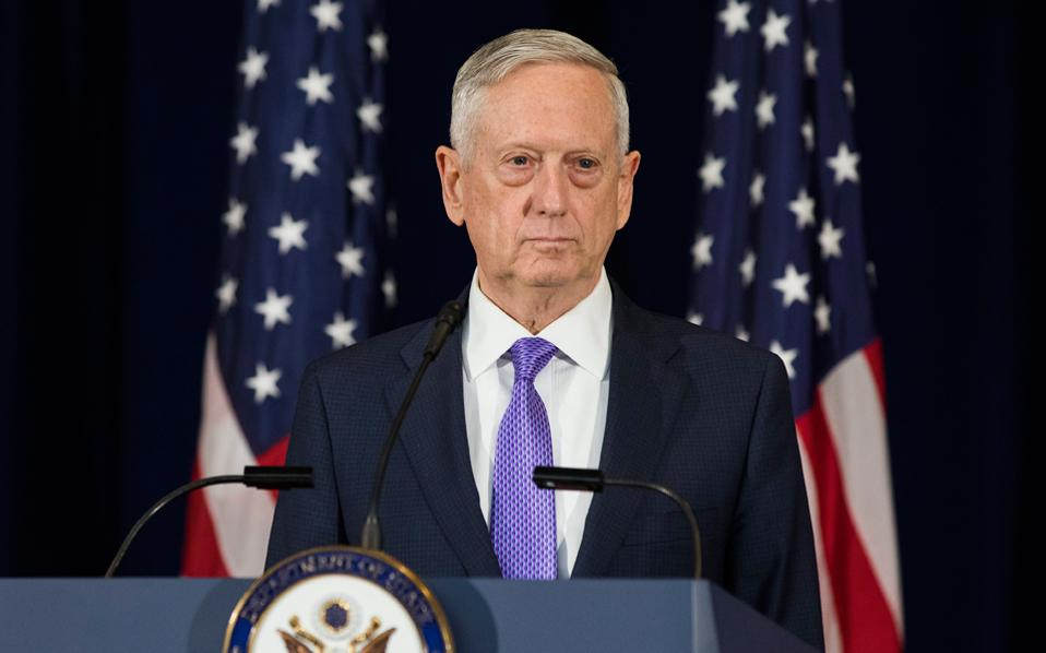 Ο υπουργός Αμυνας των ΗΠΑ, Τζιμ Μάτις, σε προχθεσινή συνέντευξη Τύπου, στην Ουάσιγκτον.