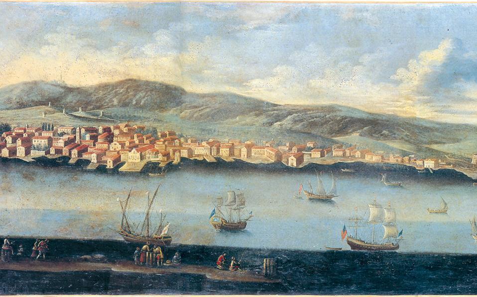Από το εικαστικό υλικό της έκδοσης. Ο λιμένας του Αργοστολίου κατά το τέλος του 18ου αιώνα. Ελαιογραφία αγνώστου. Μουσείο Μπενάκη.