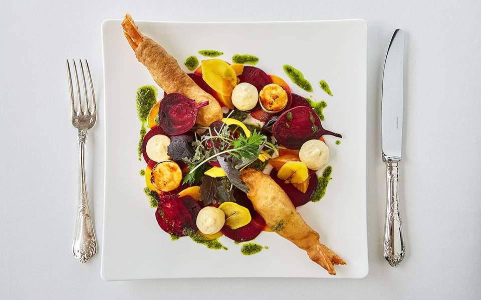 shrimp-tempura-with-beetroot-salad-warm-mandarin-scented-mayonnaise-pesto-sauce_23634