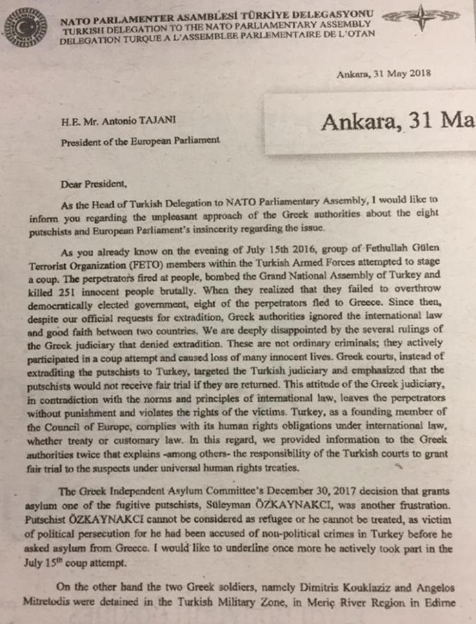 Η Άγκυρα συνδέει και επίσημα την τύχη των Ελλήνων στρατιωτικών με τους «8»