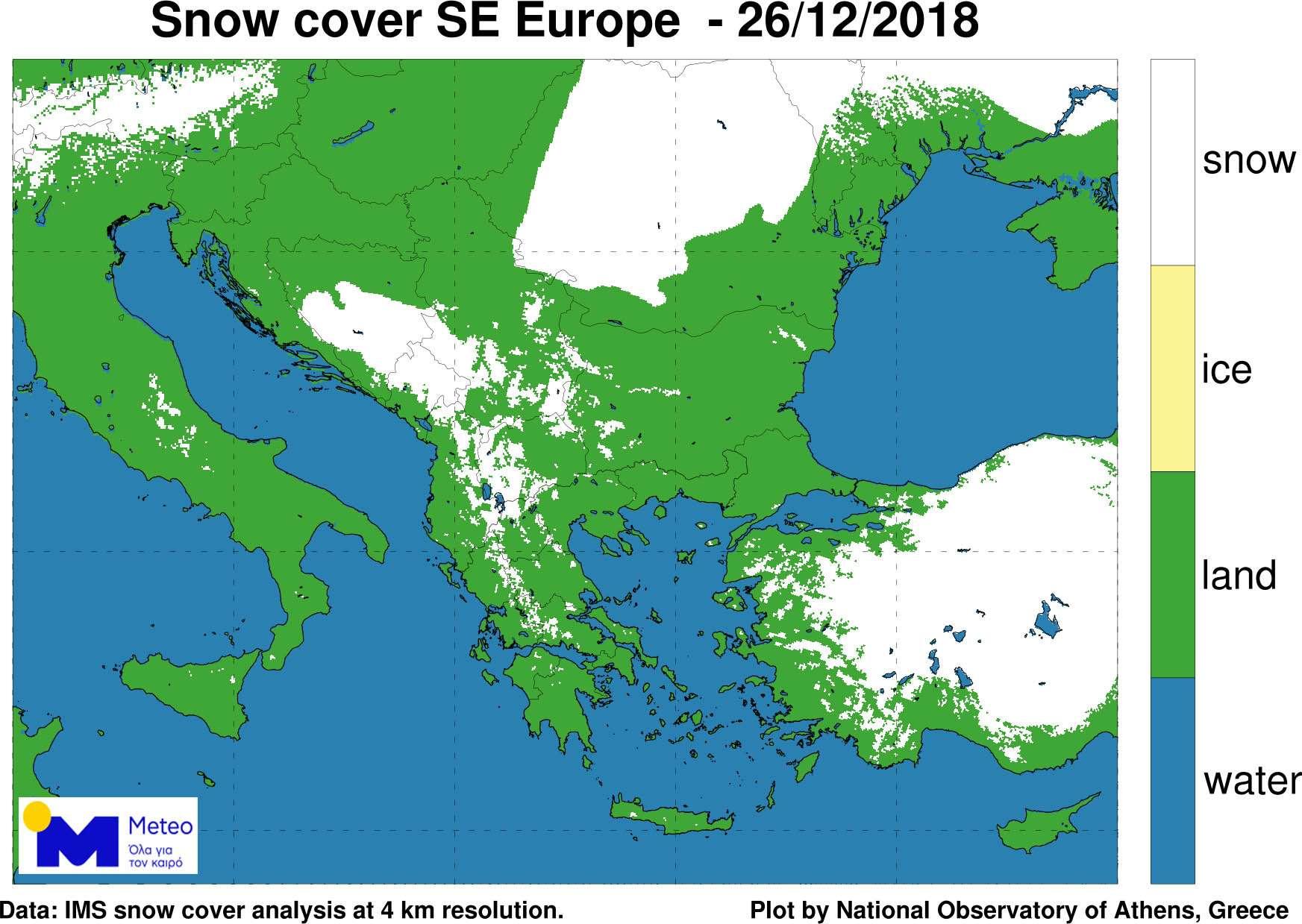 Καλυμμένο από χιόνι το 8% της Ελλάδας τη δεύτερη μέρα των Χριστουγέννων