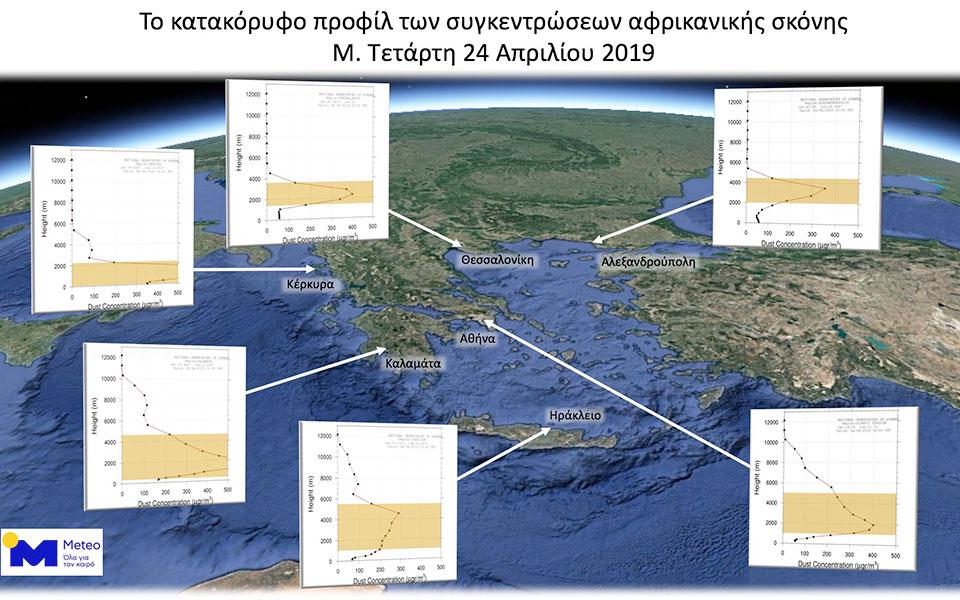Δορυφορική εικόνα από την πορεία της αφρικανικής σκόνης στην Ελλάδα